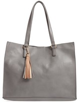 BP Faux Leather Tote & Pouch - Grey