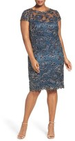 Tadashi Shoji Plus Size Women's Cap Sleeve Corded Embroidered Sheath Dress