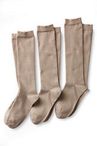 Lands' End Women's Seamless Toe Solid Cotton Blend Trouser Socks (3-pack)-Cashew