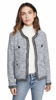 Cupcakes And Cashmere Women's Palisades Multi Color Jacket with Fringe Trim