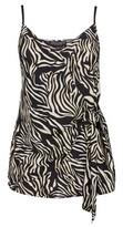 Dorothy Perkins Womens Multi Colour Zebra Print Front Tie Detail Camisole Top