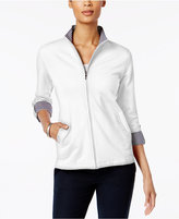 Karen Scott Zippered Roll-Tab Active Jacket, Only at Macy's
