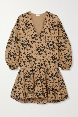 Anine Bing Peyton Printed Cotton-poplin Mini Dress - Yellow
