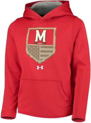 Youth Under Armour Red Maryland Terrapins Military Appreciation Performance Pullover Hoodie