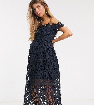 Bardot Chi Chi London Maternity lace midi dress in navy