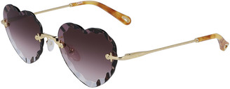 Chloé Rimless Heart-Shaped Scalloped Sunglasses
