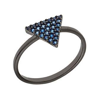ELEGANT CONFETTI Women's 18K Black Gold Plated Blue CZ Simulated Diamond Pave Stackable Triangle Ring Size 9