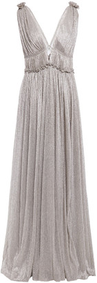 Jonathan Simkhai Ruffle-trimmed Gathered Lame Gown