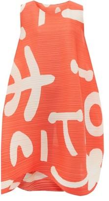 Pleats Please Issey Miyake Pause Abstract-print Plisse Dress - Womens - Orange Multi