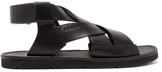 Prada Woven Crossover Leather Sandals - Black
