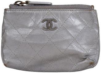 One Kings Lane Vintage Chanel Silver Metallic Small Pochette - Vintage Lux