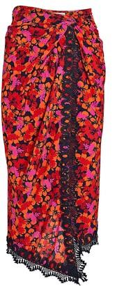 Derek Lam 10 Crosby Liona Floral Crepe Wrap Skirt