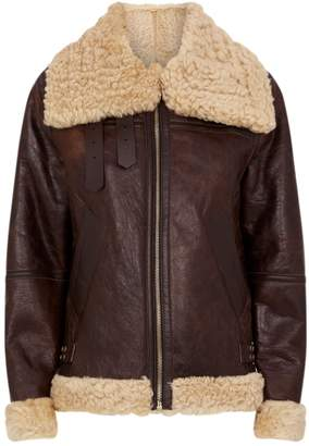 Sandro Shearling-Lined Leather Jacket