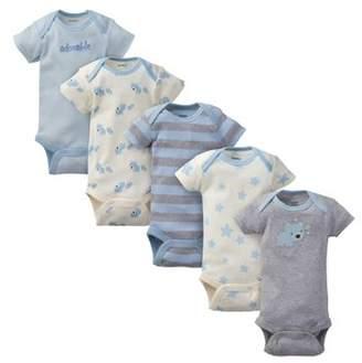 Gerber Baby Boy Organic Cotton Short Sleeve Onesies Bodysuits, 5-Pack