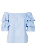Quiz Light Blue Frill Detail Bardot Top