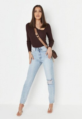 Missguided Tall Light Blue Busted Knee Mom Jeans