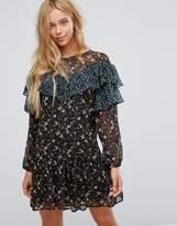 Vila Floral Frill Mesh Dress