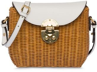Miu Miu Wicker And Leather Shoulder Bag