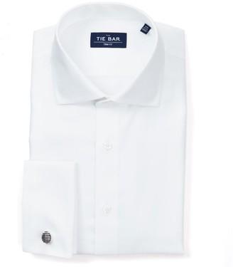 The Tie Bar Herringbone - French Cuff White Non-Iron Shirt