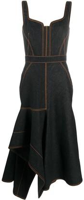 Alexander McQueen Asymmetric Ruffled Hem Denim Dress