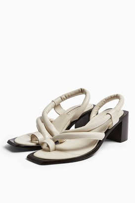 Topshop VIDAL White Leather Padded Sandals