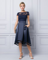 Le Château Satin & Lace Illusion Cocktail Dress