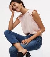 LOFT Modern Frayed Skinny Crop Jeans in Mid Stonewash