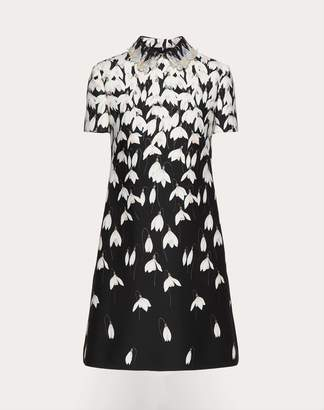 Valentino Crepe Couture Snowdrop Dress With Embroidered Collar Women Multicoloured 36