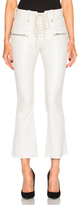 Unravel Lace Front Crop Flare Leather Pants in White.