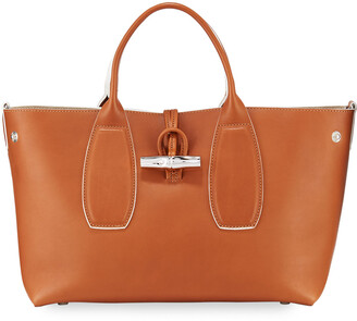 Longchamp Roseau Luxe Medium Calf Leather Top-Handle Tote Bag with Shoulder Strap
