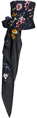 Oscar de la Renta Floral Strapless Cascade Corset Top
