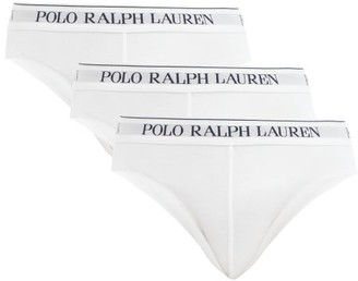 Polo Ralph Lauren Pack Of 3 Logo Embroidered Cotton Blend Briefs - Mens - White