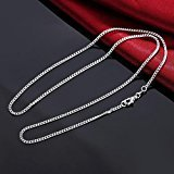 Fheaven Fashion Women Men 2MM Silver Necklace Chain Jewelry 16inch/18inch/20inch/22inch/24inch/26inch/28inch/30inch Necklaces (20inch)