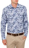 Sand Hibiscus Smudge Print Shirt