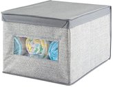mDesign Fabric Baby Nursery Closet Organizer Box for Clothing, Blankets, Towels, Bibs - Large, Gray