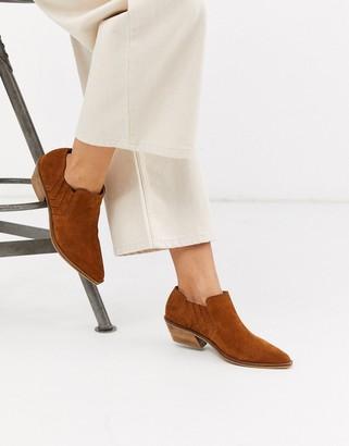 Morgan ASOS DESIGN suede western shoe boot in black and tan