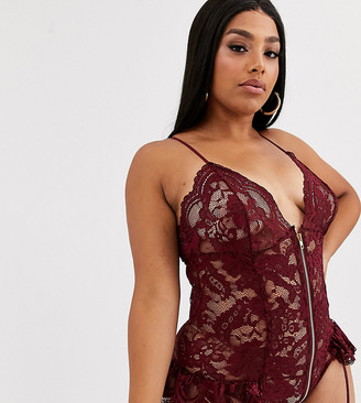 Ann Summers Curve Taylor lace zip front bodysuit with suspenders in burgundy