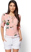 New York & Co. 7th Avenue - Pleated-Sleeve & Lace-Up Top - Peach - Floral