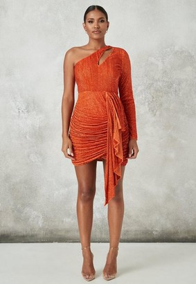 Missguided Orange Embellished Cut Out Drape Mini Dress