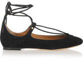 Chloé Lace-up Suede Ballet Flats - Black