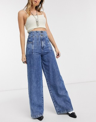 We The Free by Free People Midnight City high waist wide leg jeans in blue