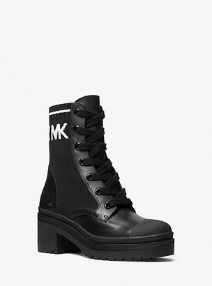 MICHAEL Michael Kors MK Brea Stretch-Knit and Leather Combat Boot - Black/white - Michael Kors