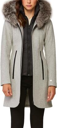 Soia & Kyo Wool Blend Coat with Genuine Silver Fox Fur Trim