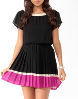 Forever 21 Pleated Colorblock Dress