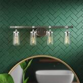 Buzard 4-Light Dimmable Brushed Nickel Vanity Light Mercury Row