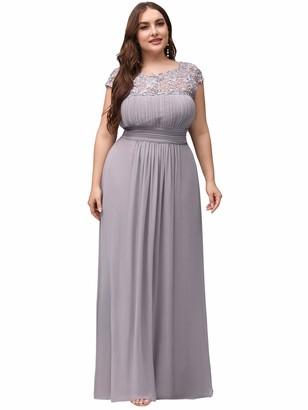 Ever Pretty Ever-Pretty Women's Floor Length A Line Chiffon Eleagnt Long Holiday Party Dresses Dark Purple UK22 Plus Size