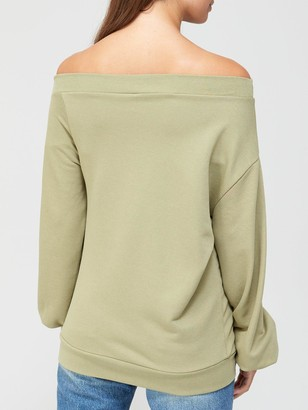 Very Off The Shoulder Slouchy Sweat - Khaki