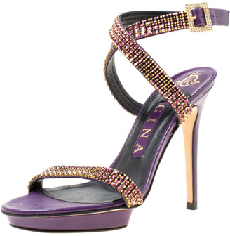 Gina Purple Crystal Embellished Leather Cross Ankle Strap Sandals Size 37