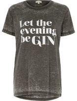River Island Womens Grey evening print burnout boyfriend T-shirt