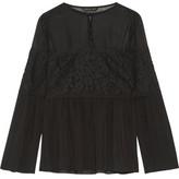 Rachel Zoe Cotton-Blend Corded Lace-Paneled Silk Crepe De Chine Blouse